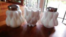 "Fenton #6906 ""Bulging Teardrop"" S/P and Fostoria #1229 ""Frisco"" T.P. milk glass"