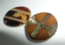 Vintage Buttons Inlaid  Mother of Pearl 2 Pieces Fancy Designs