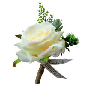 Rose Boutonniere Buttonhole Corsage Wedding Flowers Groom Best Man Mother of the