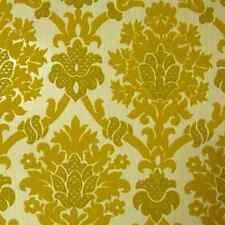 Rare 1970s Perfect Vintage Yellow Velour Velvet Flocked Wallpaper Damask Paisley