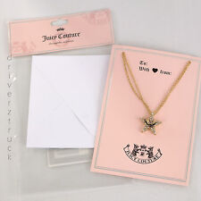 JUICY COUTURE Faux CRYSTAL STAR NECKLACE Double GOLD Tone CHAIN & Greeting Card