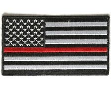 "(N) RED LINE Subdued AMERICAN FLAG 3.5"" x 2"" iron on patch (4007) Firefighter"