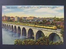 Minneapolis Minnesota Streamliner Stone Arch Bridge Vtg Curt Teich Postcard 1943