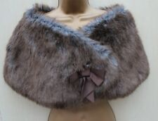 KAREN MILLEN Grey Brown Faux Fur Bow Detail Shrug Stole Over dress Sz-2 UK 10-12