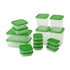 Ikea PRUTA Food Saver - Set of 17 Food Container, Transparent with Green Lid