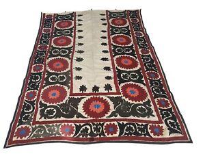Beautiful Vintage Handmade Suzani, Hand Embroidered, Uzbek Wall Hanging.