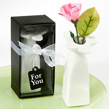 Bomboniera utile matrimonio confezionata scatolo vaso bianco ceramica cadeau