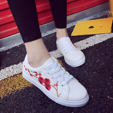 Women's Fashion Leather Rose Flower Casual Lace Up Sneakers Trainer Shoes Size