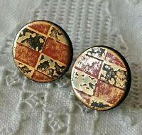 Vintage Ceramic Glazed Unusual Brutalist Style Round 925 Silver Stud Earrings