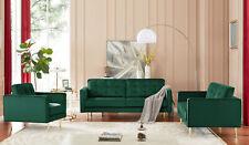 New Bold Tones Green Modern Velvet Tufted Sofa with Gold Legs