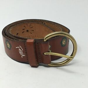 """Fossil Womens 36"""" D-Ring Buckle Floral Print Brown Leather Cut Out Belt 5 Holes"""