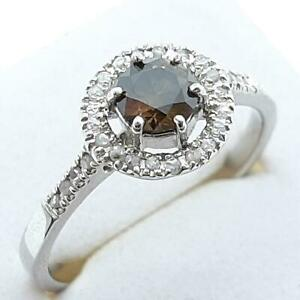 14K White Gold .82ctw Fancy Chocolate (Untreated) & I-SI Diamond Engagement Ring