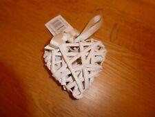 Small Miniature White Wicker Heart ~Shabby Chic Arts & Craft Decorative Hanging
