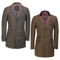 Mens 3/4 Long Overcoat Wool Feel Tweed Check Retro Smart Winter Jacket Tan Brown