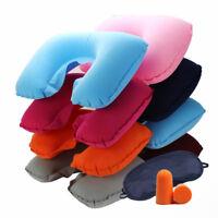 Inflatable Flight Pillow U Neck Rest Air Sleep Cushions Travel Eye Mask Earplug