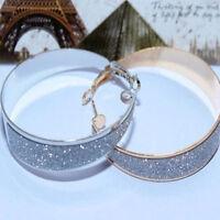 Fashion Women Lady Crystal Diamante Rhinestone Plated Hoop Round Earrings Superb
