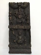 Handmade Vintage Carved Wooden Ganesha South Indian Statue Sculpture Wall Panel