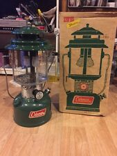"Vintage Coleman Lantern 220F195 Two Mantle Green Oil Lamp 13.5"" High"