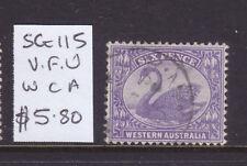 W.A.: 6d Violet Swan Sg 115 Wmk Ca F. Used .