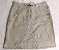 CHRISTOPHER & BANKS straight skirt SIZE 10 beige cotton knee length pockets E199