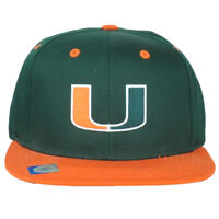 NCAA Headwear Miami Hurricanes Flat Bill Hat Cap Snapback Green Orange Sports