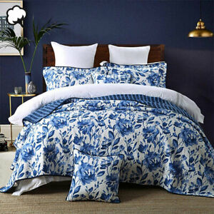 100% Cotton Lightly Quilted Coverlet Set Blue Porcelain Queen