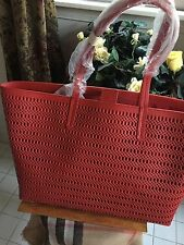 Brooks Brothers Red Leather Braided Look Tote