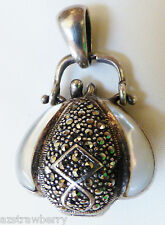 STERLING SILVER 925 DOUBLE SIDE MOTHER OF PEARL MARCASITE PURSE LOCKET PENDANT