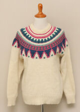 Vintage 1980s Womens L Woolrich Cream/Pink/Green/Blue Wool/Mohair Sweater