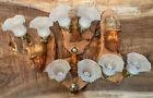 Vintage HAND CARVED FACE Spirit Tree Branch Drift Wood FOLK ART Lamp Lot of 4