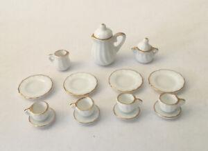 Dolls House White Tea Set