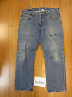 used Levis 501 destroyed feathered grunge jean tag 38x29 meas 37x30 16243F