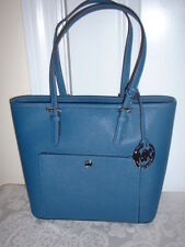 NWT Michael Kors Medium Leather Multifunction Snap Pocket Tote Handbag Steel Blu