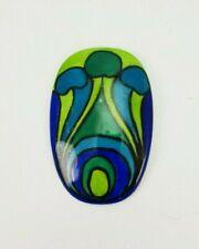Retro Colors Blue Green E/0218 Vintage Handpainted Enamel Broche M Aichberger