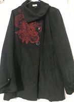 Mishmash Women's Black Jacket Medium Buttons In Front Embroidered Red Design
