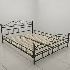Metal Bed Frame Modern Black Solid Double Iron Bedstead Comfortable Wooden Slats