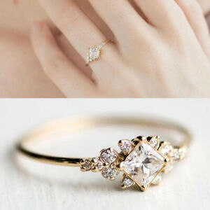 Women Elegant Ring White Sapphire Rose Gold Ring Charm Wedding Jewelry Size 6-10