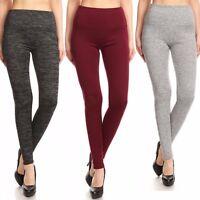Womens Sweater Knit Fleece Lined Leggings Black / Grey