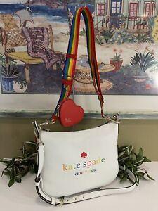 KATE SPADE PRIDE CROSSBODY SHOULDER BAG WHITE CREAM LEATHER RAINBOW STRIPE HOBO