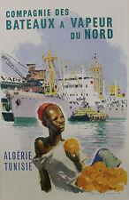 """""""Cie des BATEAUX à VAPEUR DU NORD"""" Affiche originale entoilée  (A. BRENET 1950)"""