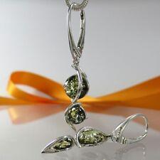 Ohrringe Bernstein Amber Silber 925 grün