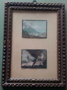 Coppia dipinti delineati acquarellati Vesuvio Golfo Napoli da P. Fabris Cornice