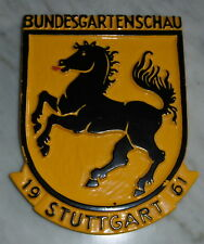 andenken / reklame schild bundes garten schau stuttgart pferd werbung 1961 deko