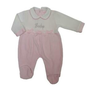 Baby girls Spanish style velour smocked bows baby grow sleepsuit 0-3 3-6 month