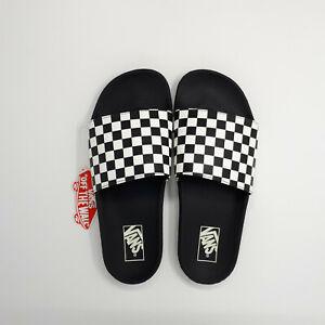 NEW Vans Slide-One On Sandal Slipper Checkerboard Black VN0A38DBN40 Mens Size 10