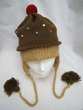 deLux DARK CHOCOLATE CUPCAKE HAT knit beanie toque cup cake costume ADULT cap