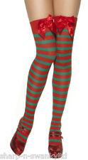 Ladies Red White Green Striped Christmas Santa Elf Fancy Dress Stockings Socks