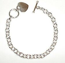 Sterling Silver Heart Charm Toggle Link Anklet 9.5""