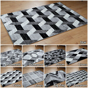 Modern Budget Quality Clearance Geometric Grey Rugs Large Area Living Room Rugs