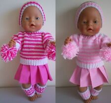 "BABY BORN 17""  DOLLS CLOTHES PINK PANTERS CHEERLEADER OUTFIT"